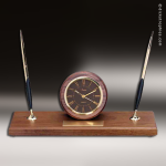 Desk Gift Walnut Round Double Pen Engraved Clock Award Desk Pen Sets