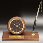 Desk Gift Walnut Round With Pen Engraved Clock Award Desk Pen Sets