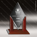 Crystal Rosewood Accented Quantum Trophy Award Diamond Shaped Crystal Awards