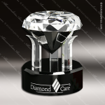 Crystal Black Accented Radiant Diamond Trophy Award Diamond Shaped Crystal Awards
