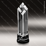 Crystal Black Accented Gem Diamond Tower Trophy Award Diamond Shaped Crystal Awards