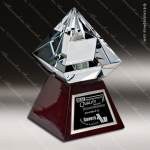 Crystal Wood Accented Optic Diamond Jewel Trophy Award Diamond Shaped Crystal Awards