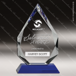 Crystal Blue  Accented Diamond Trophy Award Diamond Shaped Crystal Awards