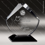 Crystal Black Accented Diamond Searchlight Trophy Award Diamond Shaped Crystal Awards