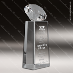 Crystal  Gem Cut Diamond Tower Pillar Trophy Award Diamond Shaped Crystal Awards