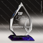 Crystal Blue Accented Arrowhead Diamond Cut Trophy Award Diamond Shaped Crystal Awards