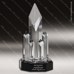 Crystal Black Accented Multi-Column Trophy Award Diamond Shaped Crystal Awards