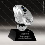 Crystal Black Accented Gem Cut Diamond Trophy Award Diamond Shaped Crystal Awards