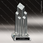 Crystal  Diamond 5 Post Tower Trophy Award Diamond Shaped Crystal Awards