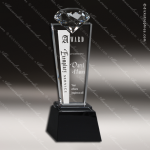 Crystal Black Accented Diamond Tower Pedestal Trophy Award Diamond Shaped Crystal Awards