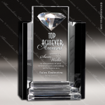 Crystal Black Accented Marquis Trophy Award Diamond Shaped Crystal Awards
