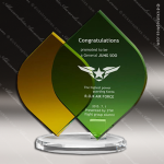 Crystal Green Accented Tropical Green Leaf & Amber Trophy Award Diamond Shaped Crystal Awards