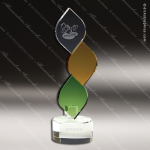 Crystal Green Accented Simple Green Leaf & Amber Trophy Award Diamond Shaped Crystal Awards