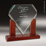 Glass  Rosewood Accented Diamond Trophy Award Diamond Shaped Glass Awards