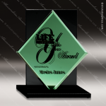 Glass Black Accented Emerald Diamond Trophy Award Diamond Shaped Glass Awards