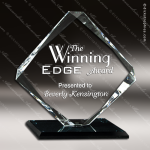 Glass Black Accented Diamond Stronghold Trophy Award Diamond Shaped Glass Awards