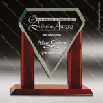 Jackson Marquis Glass Rosewood Accented Royal Jade Diamond Trophy Award Diamond Shaped Glass Awards