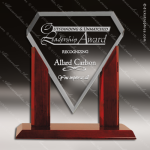 Jackson Marquis Glass Rosewood Accented Royal Clear Diamond Trophy Award Diamond Shaped Glass Awards