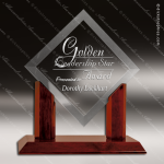 Jackson Angle Glass Rosewood Accented Royal Diamond Clear Square Trophy Diamond Shaped Glass Awards