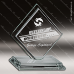 Tonozzi Double Glass Jade Accented Square Diamond Trophy Award Diamond Shaped Glass Awards