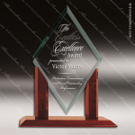 Jackson Edge Glass Rosewood Accented Mayfair Jade Diamond Trophy Award Diamond Shaped Glass Awards
