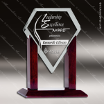 Tunnar Heroic Glass Rosewood Accented Diamond Trophy Award Diamond Shaped Glass Awards