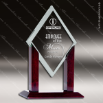 Tunnar Diamond Glass Rosewood Accented Spear Trophy Award Diamond Shaped Glass Awards