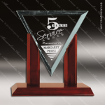 Jackson Royal Glass Rosewood Accented Diamond Jade Triangle Trophy Award Diamond Shaped Glass Awards