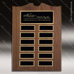 The Trevillion Walnut Arched Perpetual Plaque  12 Black Plates Dick's Trophies | Crystal Awards | Plaques | Corporate Gifts | Custom Engraving | Artistic Glass