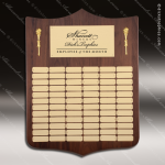 The Melrosa Walnut Perpetual Arch Plaque  72 Gold Plates Dick's Trophies | Crystal Awards | Plaques | Corporate Gifts | Custom Engraving | Artistic Glass