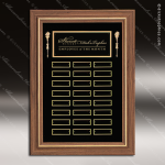 The Trisdale Walnut Framed Perpetual Plaque  24 Black Plates Dick's Trophies | Crystal Awards | Plaques | Corporate Gifts | Custom Engraving | Artistic Glass