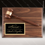 Engraved Faux Walnut Plaque Gavel Mounted Black Shield Plate Wall Plaque Aw Dick's Trophies | Crystal Awards | Plaques | Corporate Gifts | Custom Engraving | Artistic Glass