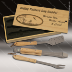 Laser Engraved BBQ Gift Set Pine Case With Utensils Dick's Trophies | Crystal Awards | Plaques | Corporate Gifts | Custom Engraving | Artistic Glass