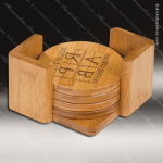 Laser Engraved Wood Coaster Bamboo Set Round Etched Gift Dick's Trophies | Crystal Awards | Plaques | Corporate Gifts | Custom Engraving | Artistic Glass