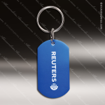 Laser Etched Engraved Keychain Aluminium Dog Tag Blue Gift Award Dog Tag Keychains