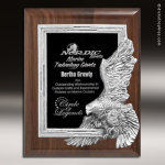Engraved Walnut Plaque Silver Eagle Leadership Wall Placard Award Eagle Themed Plaques