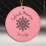Personalized Embossed Leather Round Christmas Ornament -Pink Embossed Leather Ornaments