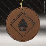 Personalized Embossed Leather Round Christmas Ornament -Dark Brown Embossed Leather Ornaments
