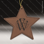 Personalized Embossed Leather Star Christmas Ornament -Dark Brown Embossed Leather Ornaments