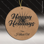 Personalized Embossed Leather Round Christmas Ornament -Light Brown Embossed Leather Ornaments