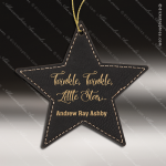 Personalized Embossed Leather Star Christmas Ornament -Black/Gold Embossed Leather Ornaments
