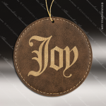 Personalized Embossed Leather Round Christmas Ornament -Rustic/Gold Embossed Leather Ornaments