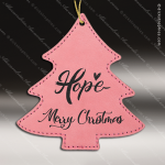 Personalized Embossed Leather Tree Christmas Ornament -Pink Embossed Leather Ornaments