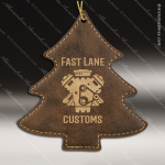 Personalized Embossed Leather Tree Christmas Ornament -Rustic/Gold Embossed Leather Ornaments