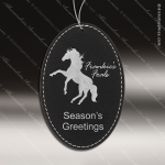 Personalized Embossed Leather Oval Christmas Ornament -Black/Silver Embossed Leather Ornaments