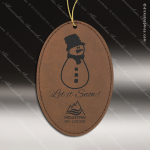 Personalized Embossed Leather Oval Christmas Ornament -Dark Brown Embossed Leather Ornaments