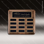 The Trinidad Walnut Perpetual Plaque  12 Black Plates Employee of the Month Year Quarter Plaques