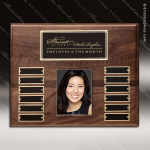 The Restivo Walnut Perpetual Plaque  12 Black Plate Photo Employee of the Month Year Quarter Plaques