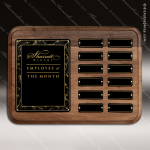 The Reppucci Walnut Perpetual Plaque  12 Black Plate Employee of the Month Year Quarter Plaques
