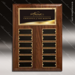The Restava Walnut Perpetual Plaque  12 Black Plate Liquid Gold Employee of the Month Year Quarter Plaques
